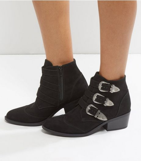 Black Suedette Silver Buckle Western Ankle Boots | New Look