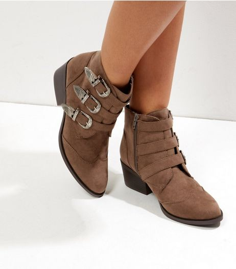 Light Brown Suedette Silver Buckle Western Boots | New Look