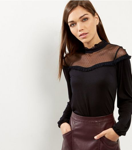 Black Spot Mesh Yoke Long Sleeve Top | New Look