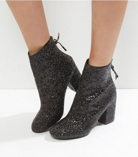 Black Glitter Block Heel Ankle Boots | New Look