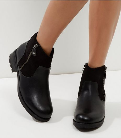 Black Suedette Shearling Lined Biker Boots | New Look