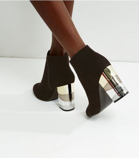 Black Suedette Metal Block Heel Ankle Boots | New Look