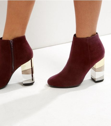 Dark Red Suedette Metal Block Heel Boots | New Look