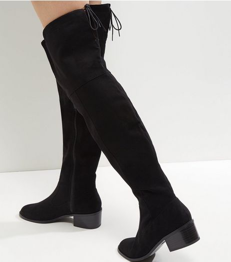 Black Comfort Suedette Over The Knee Tie Up Boots | New Look