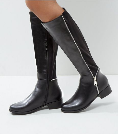 Black Zip Side Knee High Boots | New Look