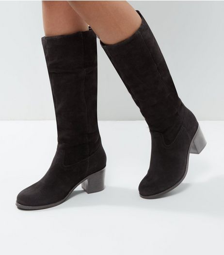 Black Suede Knee High Block Heel Boots | New Look