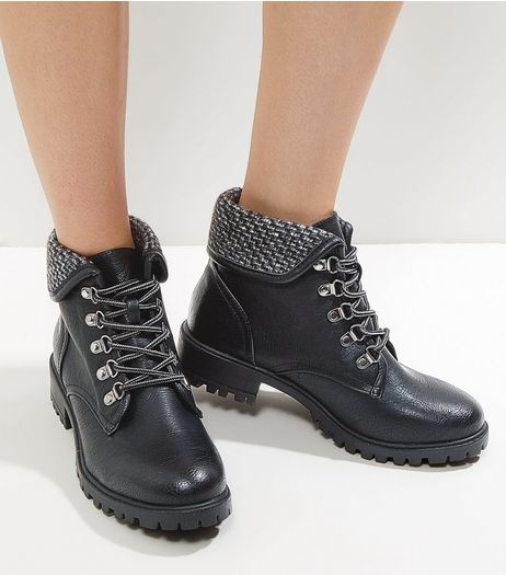 Black Knitted Cuff Lace Up Boots | New Look