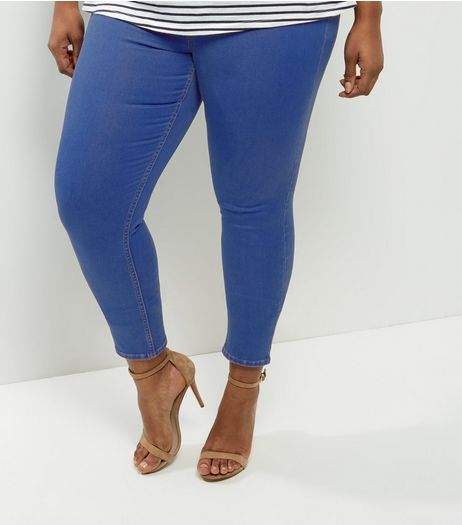 Curves Bright Blue Jeggings | New Look