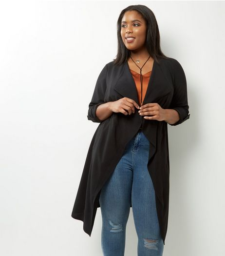 Curves Black Lightweight Maxi Jacket | New Look