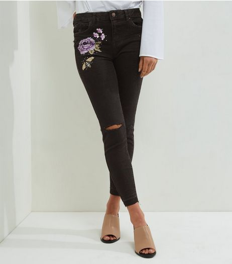 Black Bee Embroiderd Studded Ankle Grazer Skinny Jeans | New Look