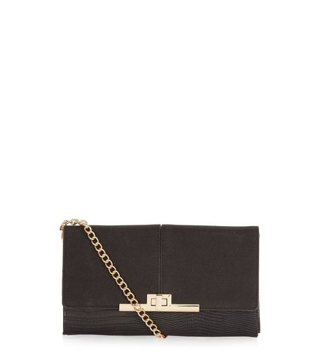 Black Textured Chain Strap Clutch | New Look