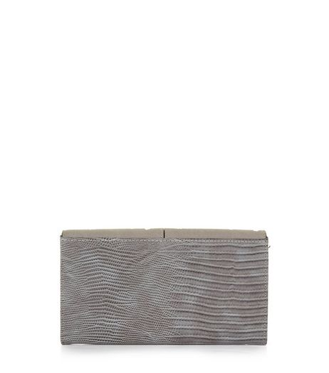Grey Textured Chain Strap Clutch  | New Look