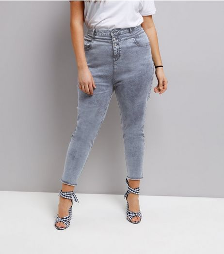 Curves Blue Acid Wash High Waist Skinny Jeans | New Look