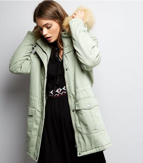 Green Faux Fur Trim Drawstring Waist Parka | New Look
