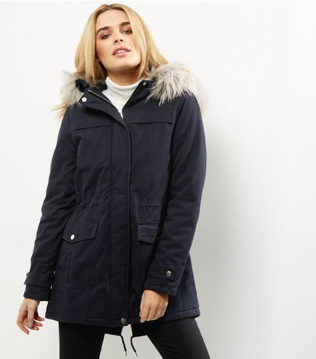 Navy Faux Fur Trim Drawstring Waist Parka  | New Look