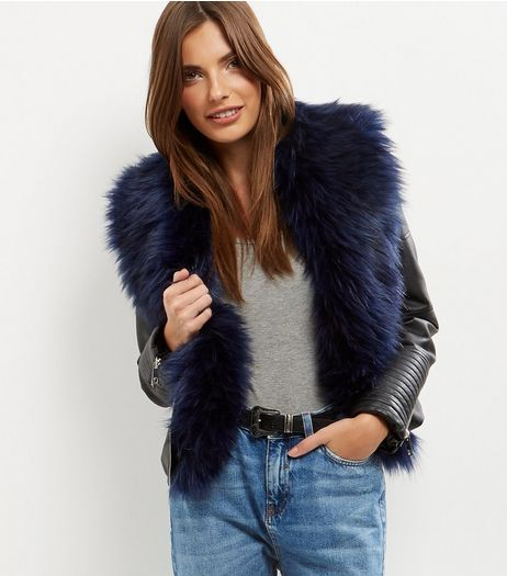 Black Faux Fur Trim Leather-Look Biker Jacket  | New Look
