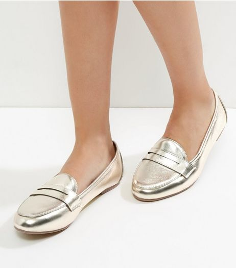 Gold Metallic Loafers | New Look