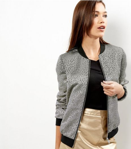 Gold Metallic Honeycomb Bomber Jacket | New Look