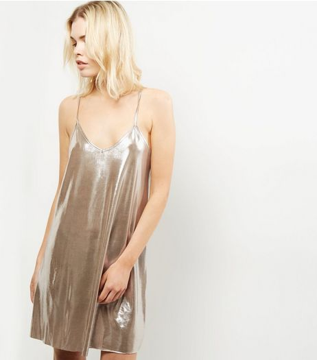 Blue Vanilla Gold Metallic Cami Dress | New Look