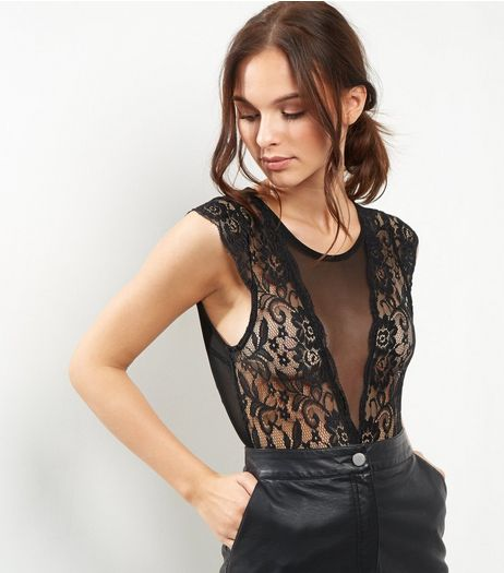 Blue Vanilla Black Sheer Panel Lace Bodysuit  | New Look