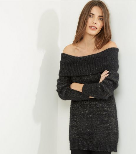 Blue Vanilla Black Glitter Bardot Neck Jumper  | New Look