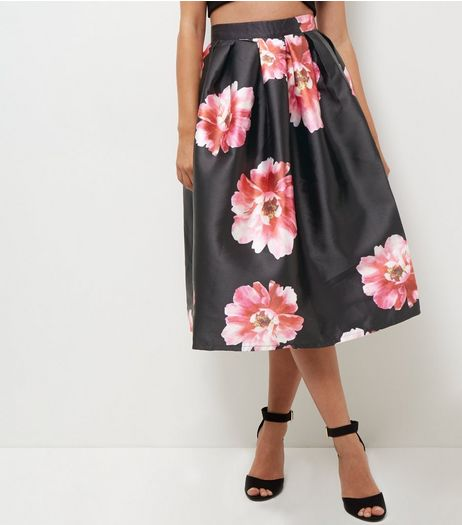 Blue Vanilla Black Floral Print Pleated Balloon Skirt  | New Look