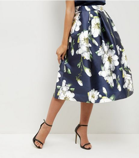 Blue Vanilla Navy Floral Print Pleated Balloon Skirt  | New Look