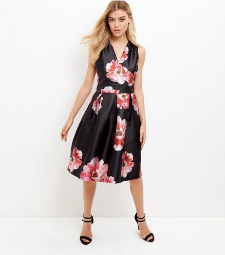 Blue Vanilla Black Floral Print Pleated Dress  | New Look