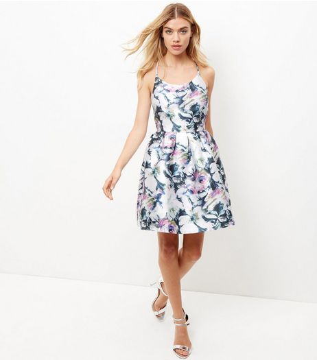Blue Vanilla White Floral Print Pleated Dress  | New Look