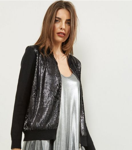 Blue Vanilla Black Sequin Panel Bomber Jacket  | New Look