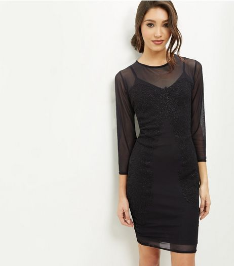 Blue Vanilla Black Sheer Embellished Dress | New Look