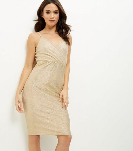 Blue Vanilla Gold Foil Wrap Front Dress | New Look