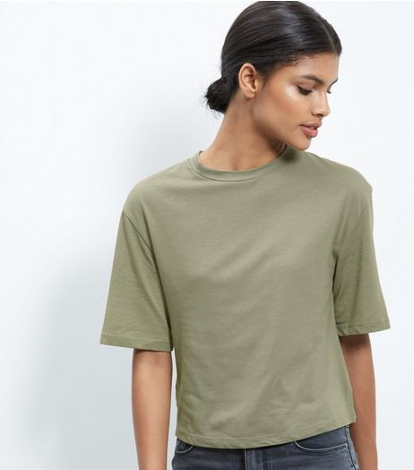 Olive Green Wide Sleeve T-Shirt  | New Look