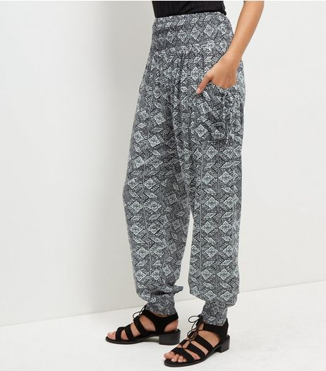 Apricot Black Geo Tile Print Harem Trousers  | New Look