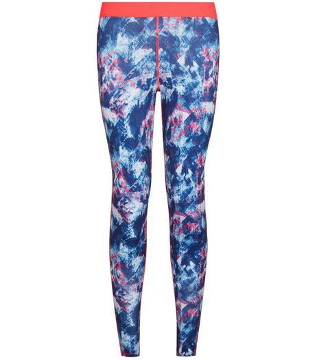 Teens Blue Aztec Print Sports Leggings | New Look