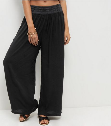 Apricot Black Wide Leg Trousers  | New Look