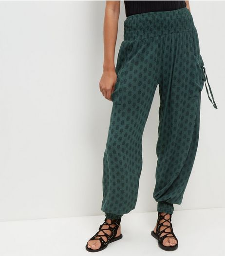 Apricot Green Geo Floral Print Harem Trousers  | New Look