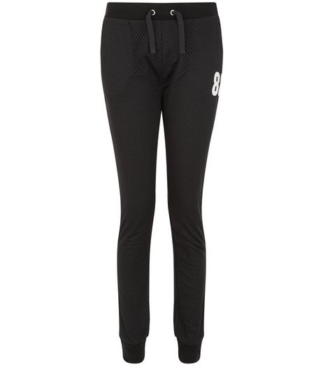 Teens Black Mesh 86 Print Joggers | New Look