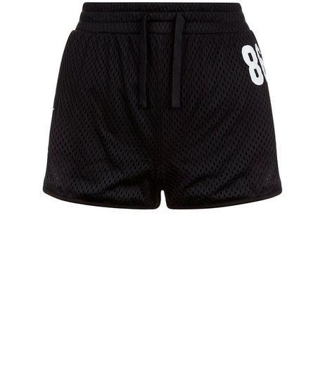 Teens Black Mesh 86 Print Shorts | New Look