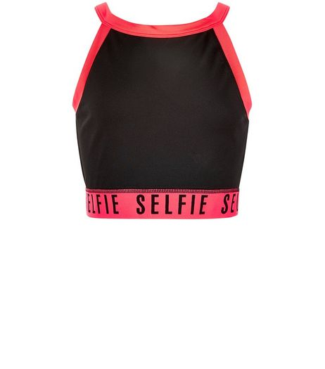 Teens Black Selfie High Neck Sports Crop Top | New Look