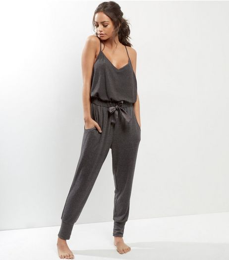Grey Brushed Bow Front Lounge Jumpsuit | New Look