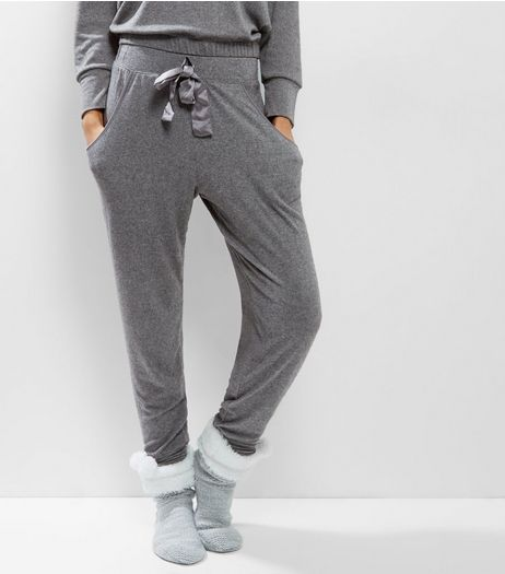 Dark Grey Brushed Sateen Trim Pyjama Joggers | New Look