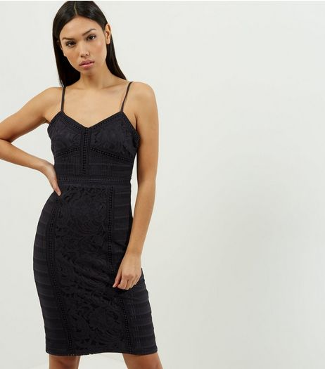 Black Lace Strappy Midi Bodycon Dress | New Look