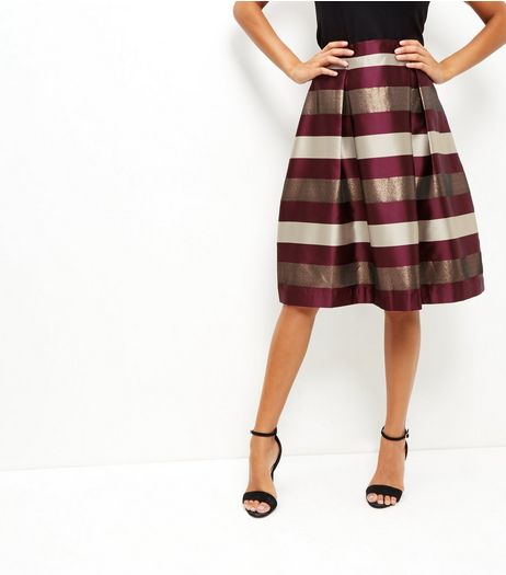Red Stripe Balloon Midi Skirt  | New Look