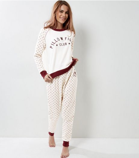 Cream Pillow Fight Club Pyjama Bottoms | New Look