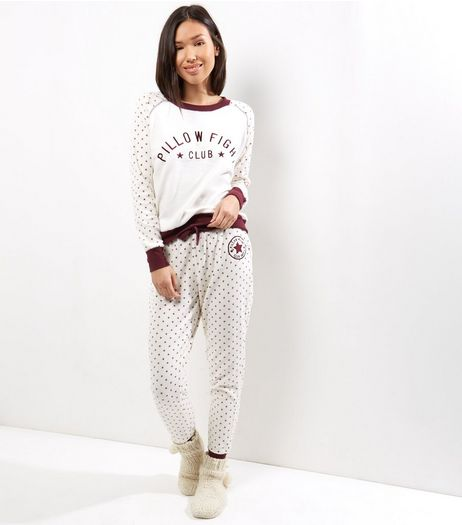Cream Pillow Fight Club Pyjama Sweater | New Look