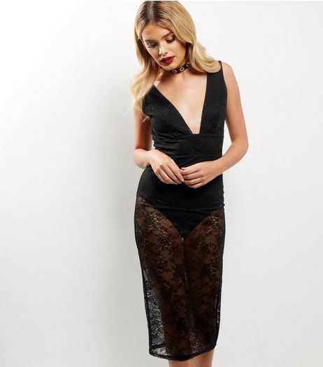 Black Lace Plunge V Neck Sleeveless Bodycon Dress | New Look