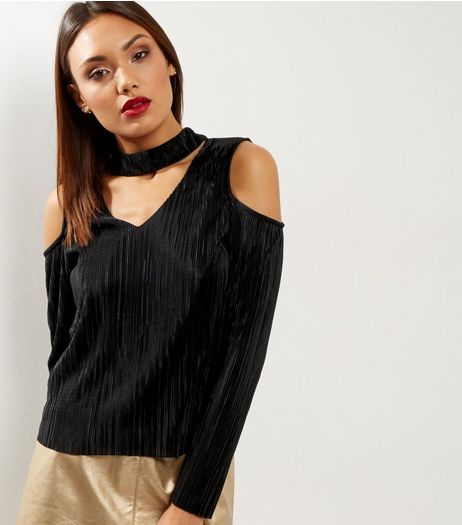 Black Pleated Choker Neck Cold Shoulder Top  | New Look