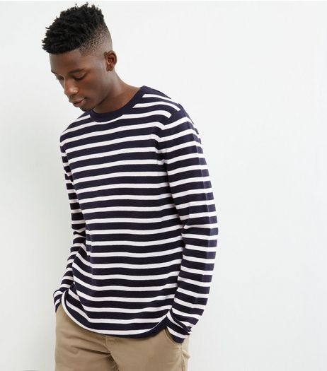 Navy Stripe Crew Neck Jumper | New Look