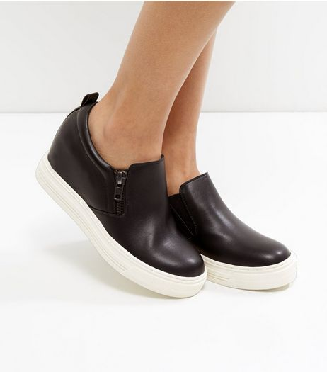 Black Contrast Platform Zip Side Plimsolls | New Look